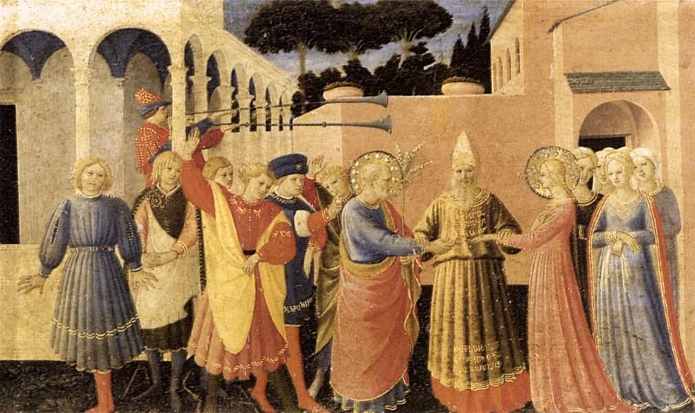 Den salige Fra Angelico (ca 1400-55): Jomfruens giftermål (1433-34), Museo Diocesano, Cortona