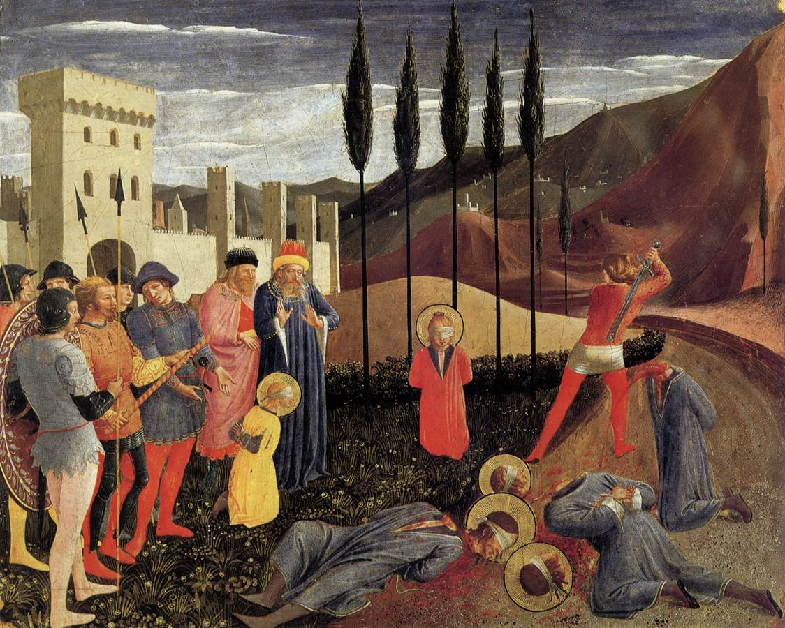 Beheading of Sts Cosmas and Damian, painting c1439
