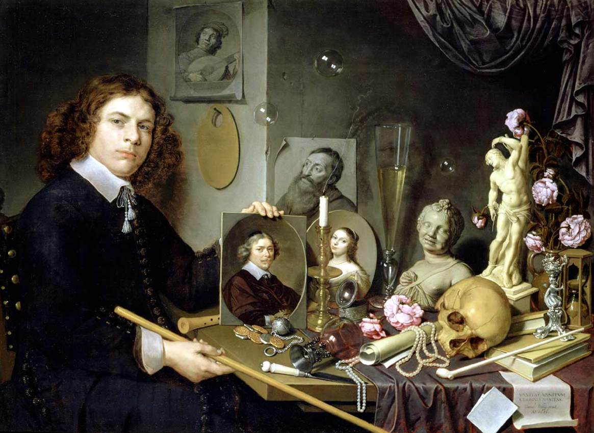 Self portrait with vanitas symbols by bailly david - Vanite avec une couronne royale analyse ...