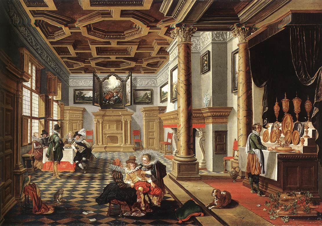 Renaissance Interior with Banqueters by BASSEN, Bartholomeus van