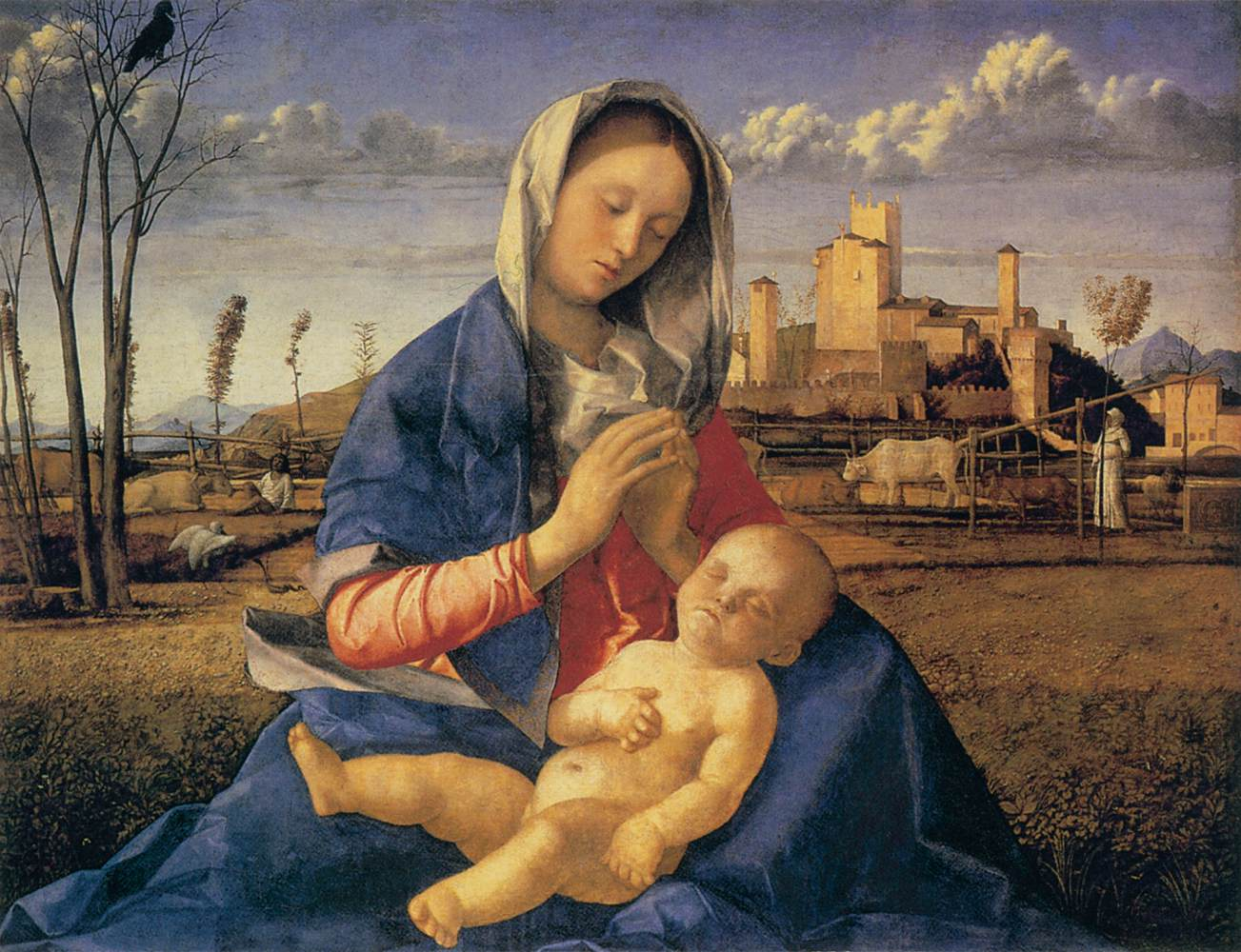 Madonna of the meadow madonna del prato by bellini giovanni for The meado