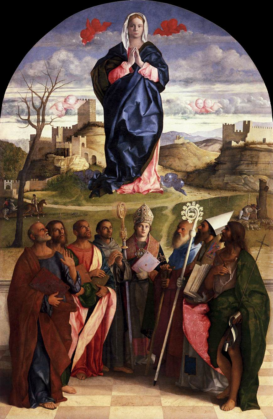 Virgin in glory with saints by bellini giovanni for The giovanni