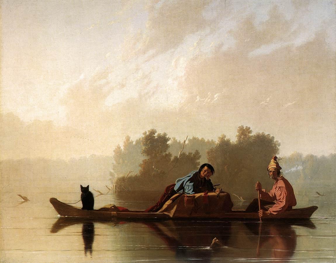 Negociantes de Peles descendo o Misouri (Bingham, 1845)