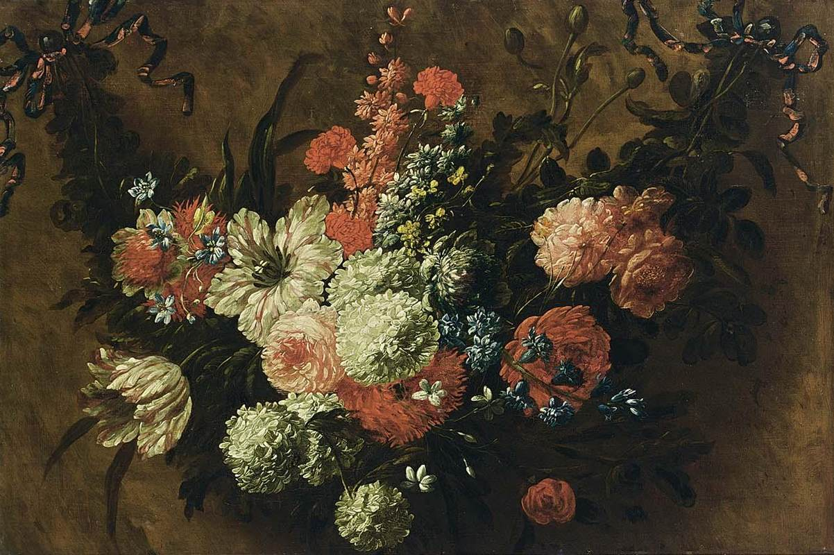 BOSSCHAERT, Jan-BaptistGarland of Flowers-Oil on canvas, 54 x 80 ...
