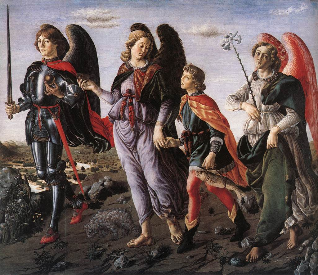 Les 3 Archanges avec Tobie - Botticini (ritengo che siano da sinistra: Michele, Raffaele, Gabriele; sito in francese da vedere) dans immagini sacre tobias