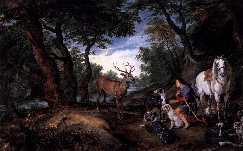 The vision of st hubert by brueghel jan the elder for B b la maison st hubert