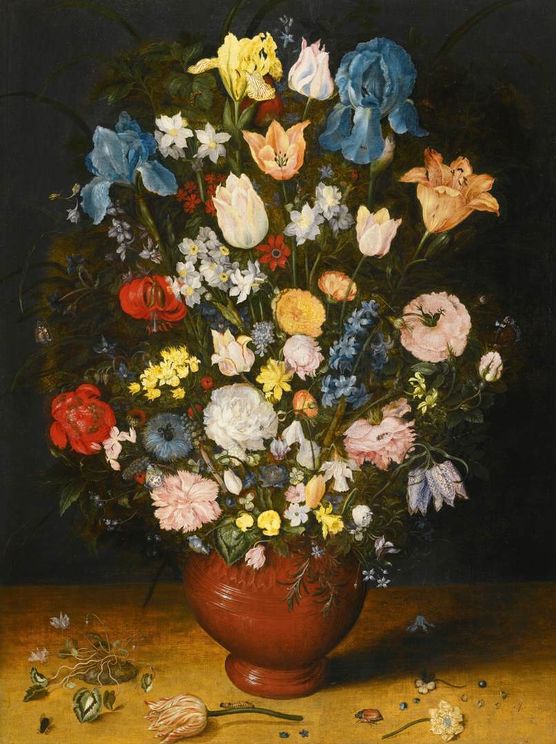 Bouquet In A Clay Vase By Brueghel Jan The Elder