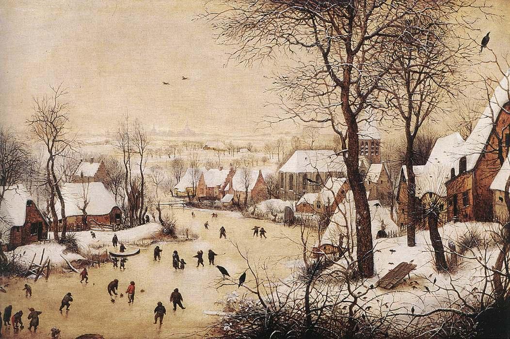 Гареев Марсель.  Пейзаж с катающимися на льду и ловушкой для птиц.