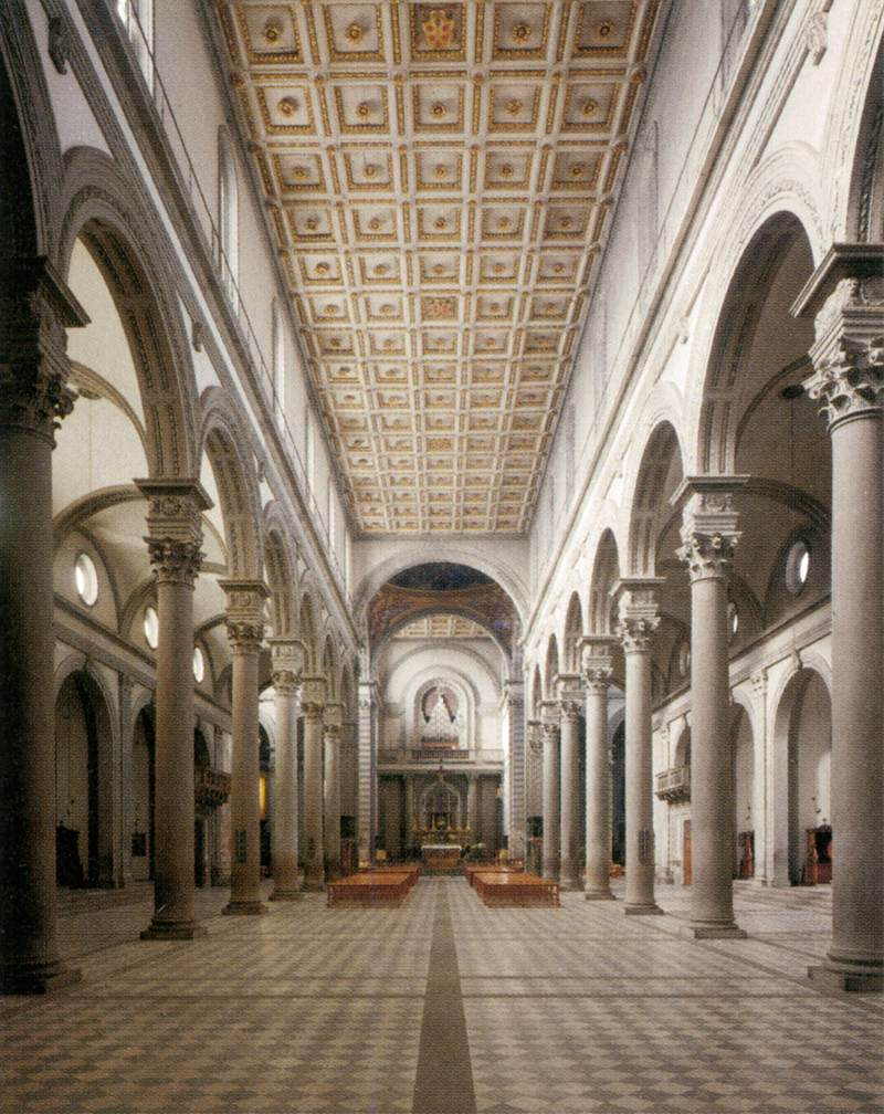 San lorenzo view of the nave toward the choir by for Interior iglesia san lorenzo brunelleschi