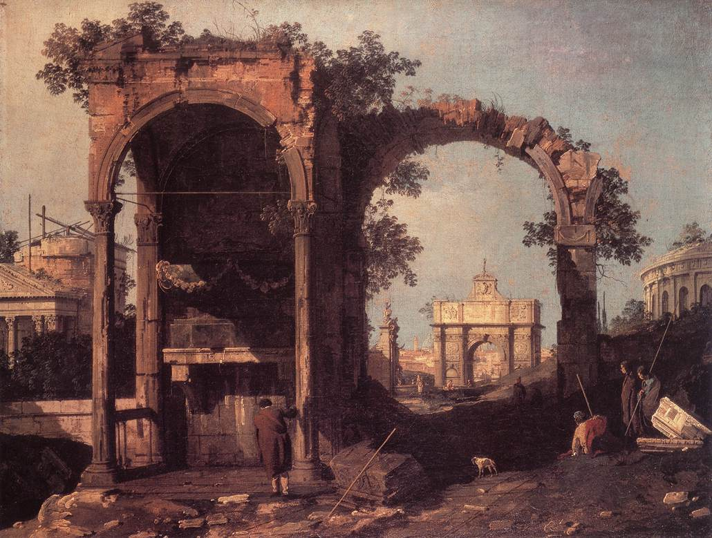 Capriccio Ruins And Classic Buildings By Canaletto