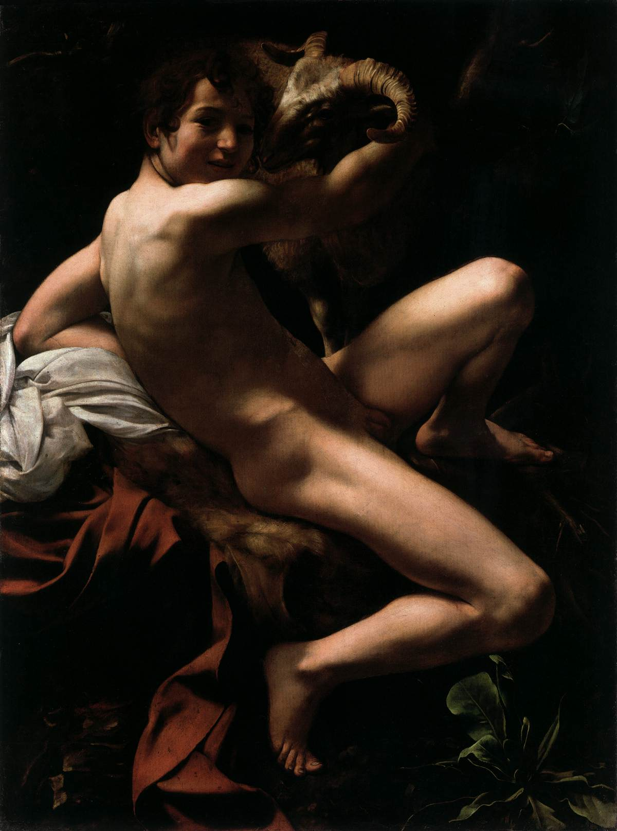 Here against Caravaggio st john the baptist the nude
