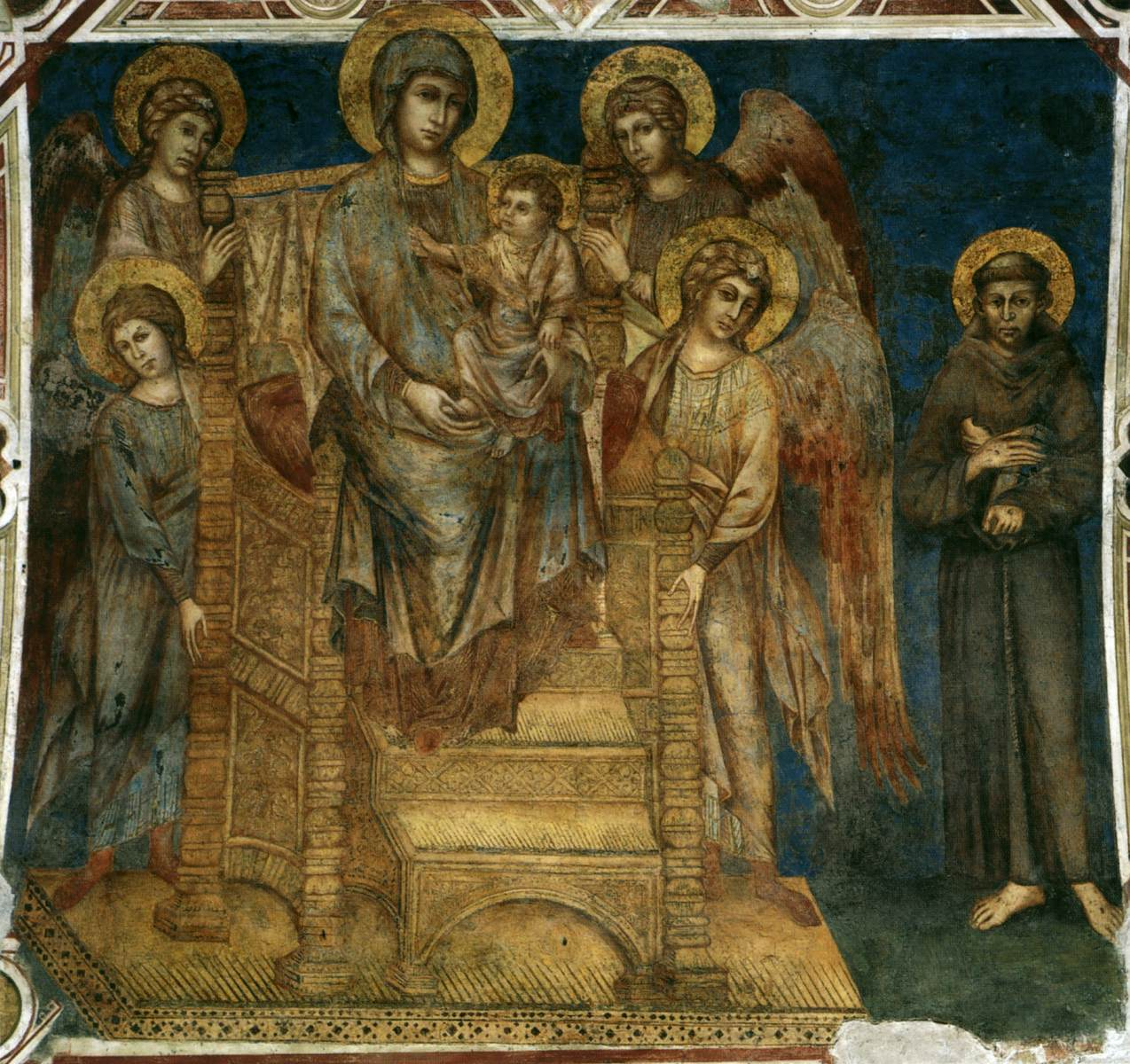 """cimabue madonna enthroned The """"madonna enthroned with angels and st francis"""", another fresco in the lower basilica attributed to cimabue and dating from 1280, shows delicacy and finish united to robust forms, with the ascetic st francis remarkable in character."""