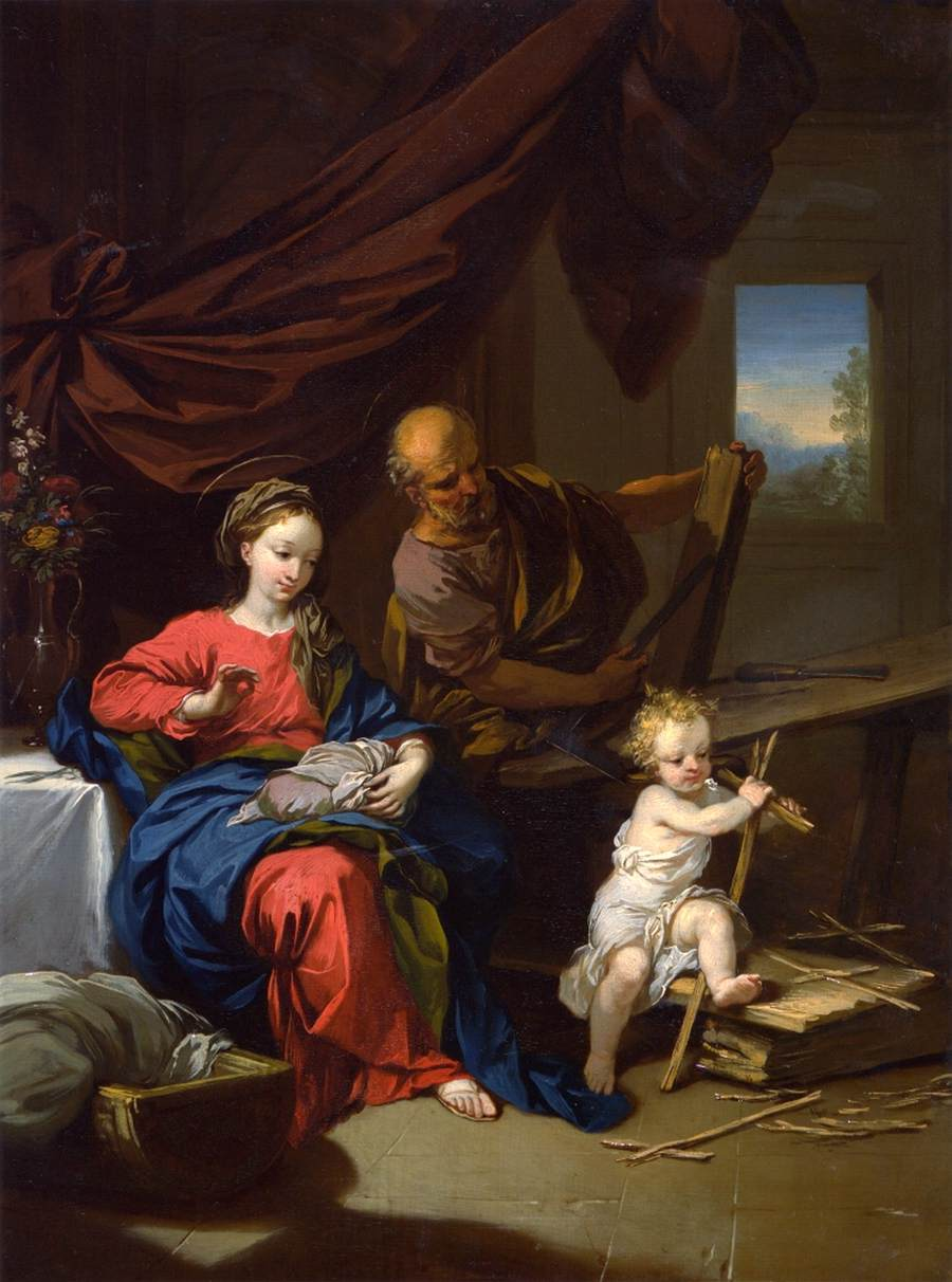 holy family in a carpenter u0026 39 s shop by dietrich  christian wilhelm ernst
