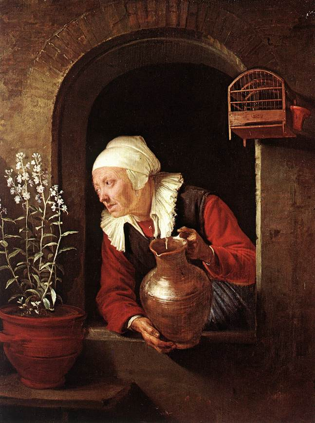 "Gerrit Dou, ""Old Woman Watering Flowers"" (1660-65), oil on wood"