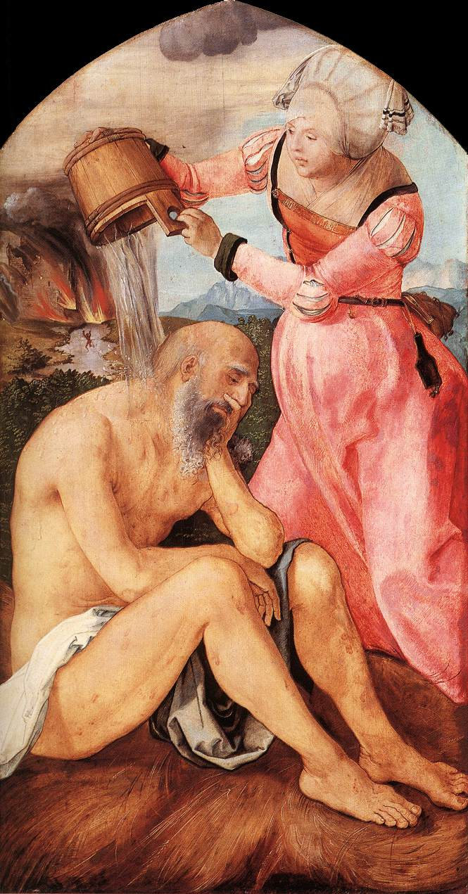 """Job and His Wife"" (Albrecht Dürer), Oil on panel, c. 1504, Städelsches Kunstinstitut, Frankfurt"