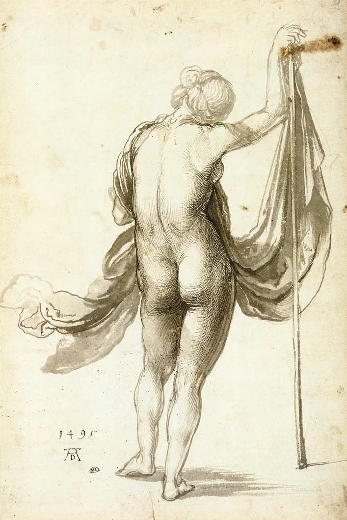 The attributes, staff and cloth, suggest that this freely drawn nude study ...