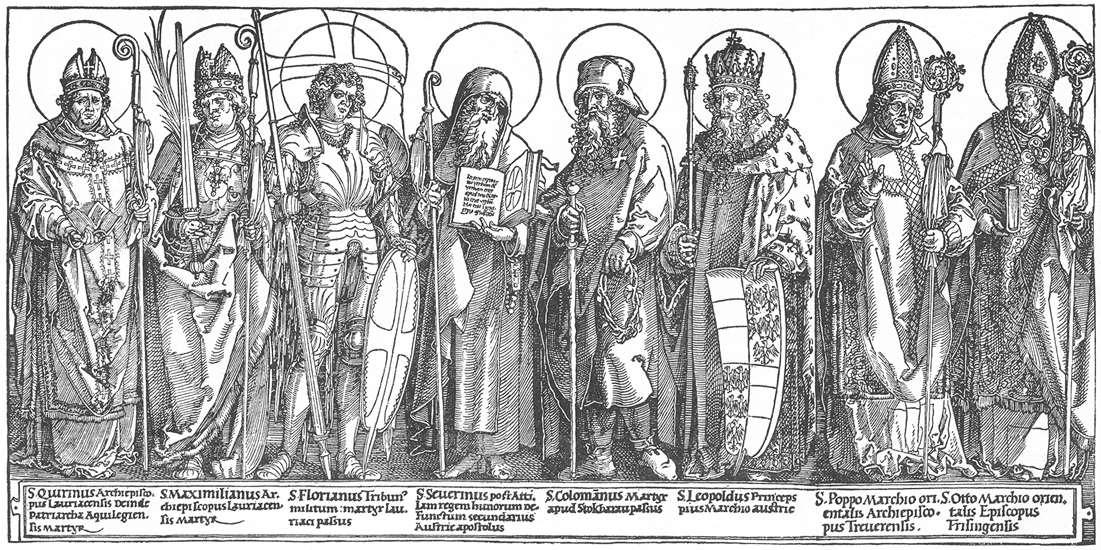Albrecht Dürer (1471-1528): De østerrikske helgener (1515-17), tresnitt i British Museum i London. Fra venstre de hellige Quirinus, Maximilian, Florian, Severin, Koloman, Leopold III, Poppo av Trier og Otto av Freising