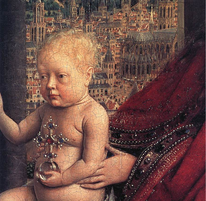 EYCK, Jan van The Virgin of Chancellor Rolin (detail) 1435