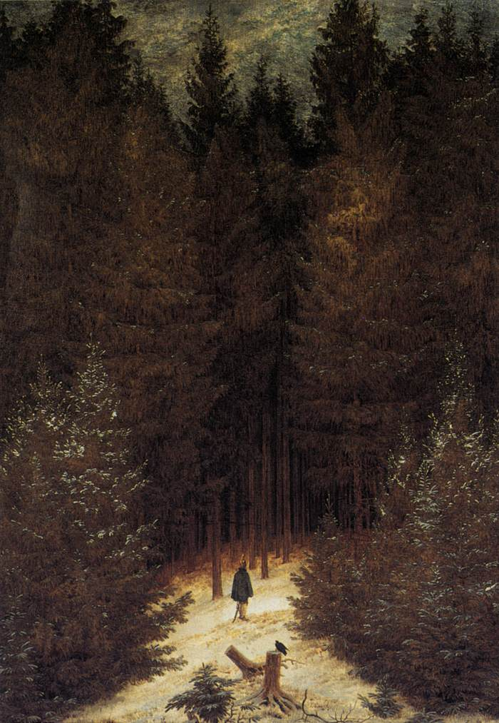 the chasseur in the forest by friedrich caspar david. Black Bedroom Furniture Sets. Home Design Ideas