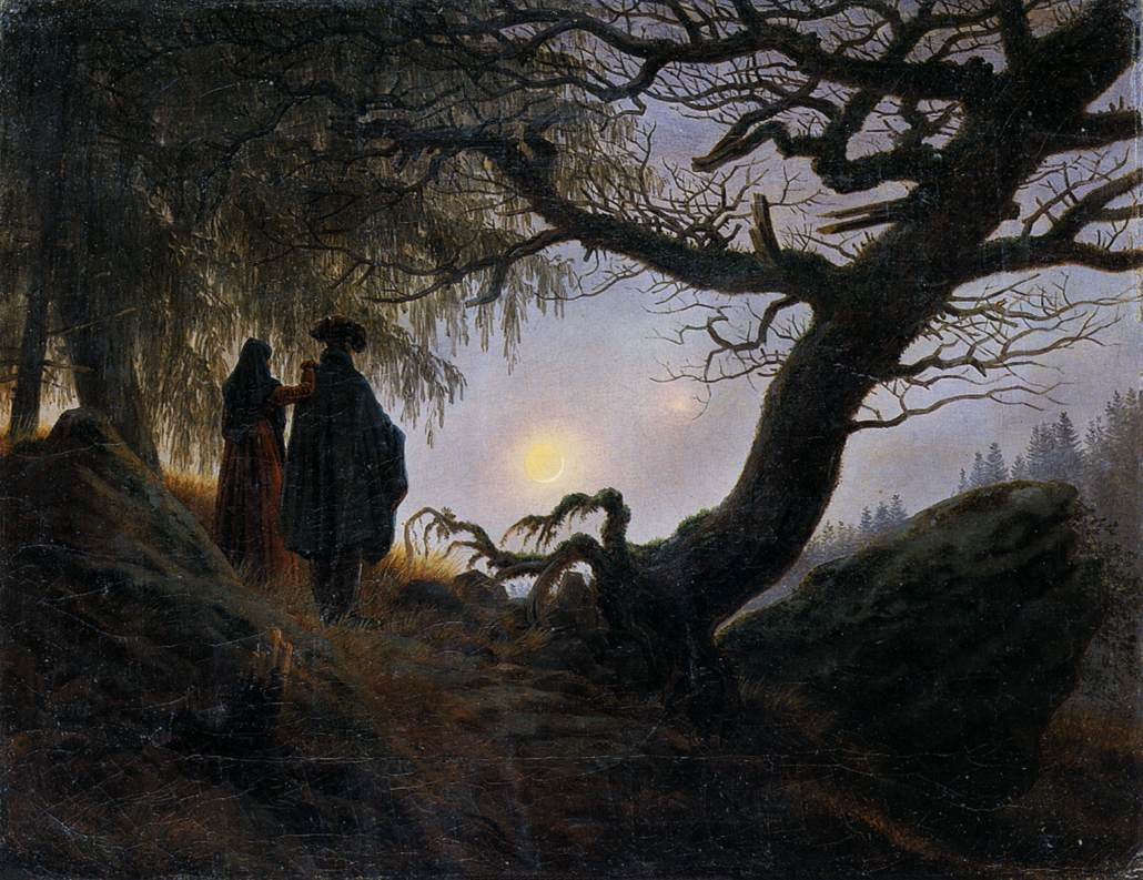 man and woman contemplating the moon by friedrich caspar david. Black Bedroom Furniture Sets. Home Design Ideas