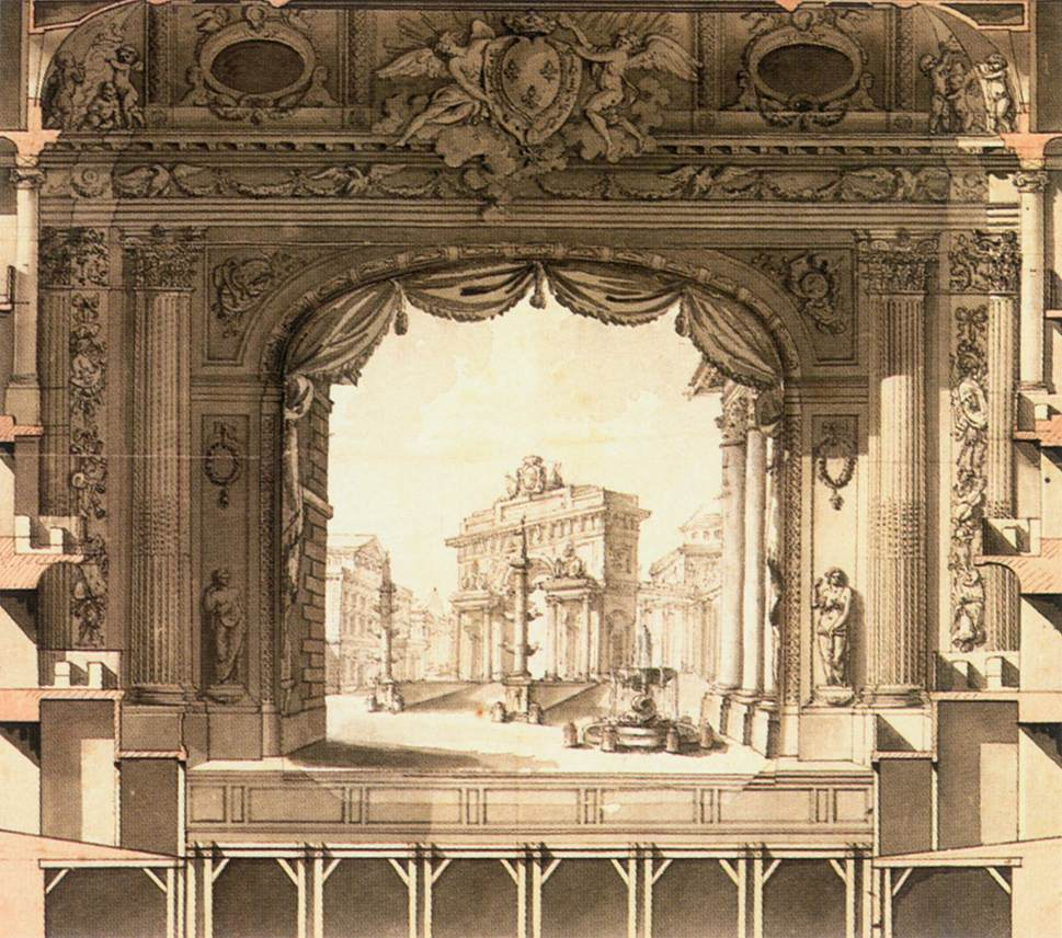 elevation drawing of the stage versailles opera house by gabriel ange jacques. Black Bedroom Furniture Sets. Home Design Ideas