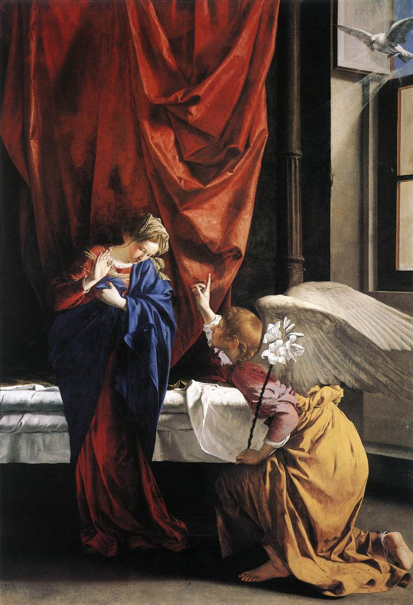 Angel tells Mary about Baby Jesus. Image located on Web Gallery of Art at https://www.wga.hu.