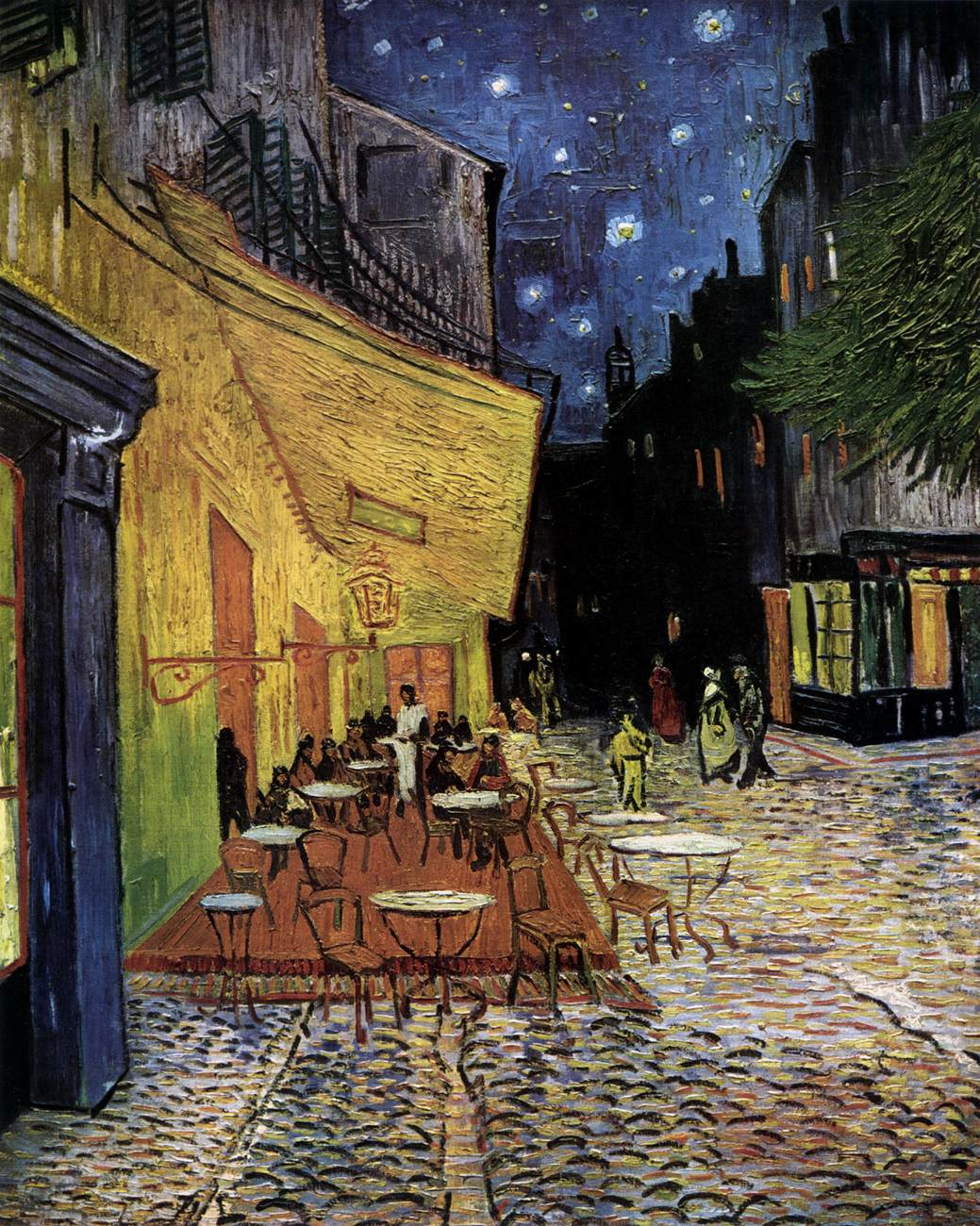 Caf terrace on the place du forum arles at night by gogh for Terrace night