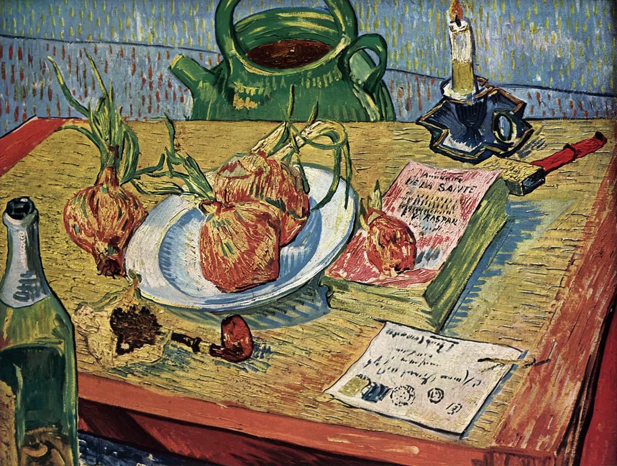 梵高的后印象派静物油画作品欣赏《面包和洋葱》