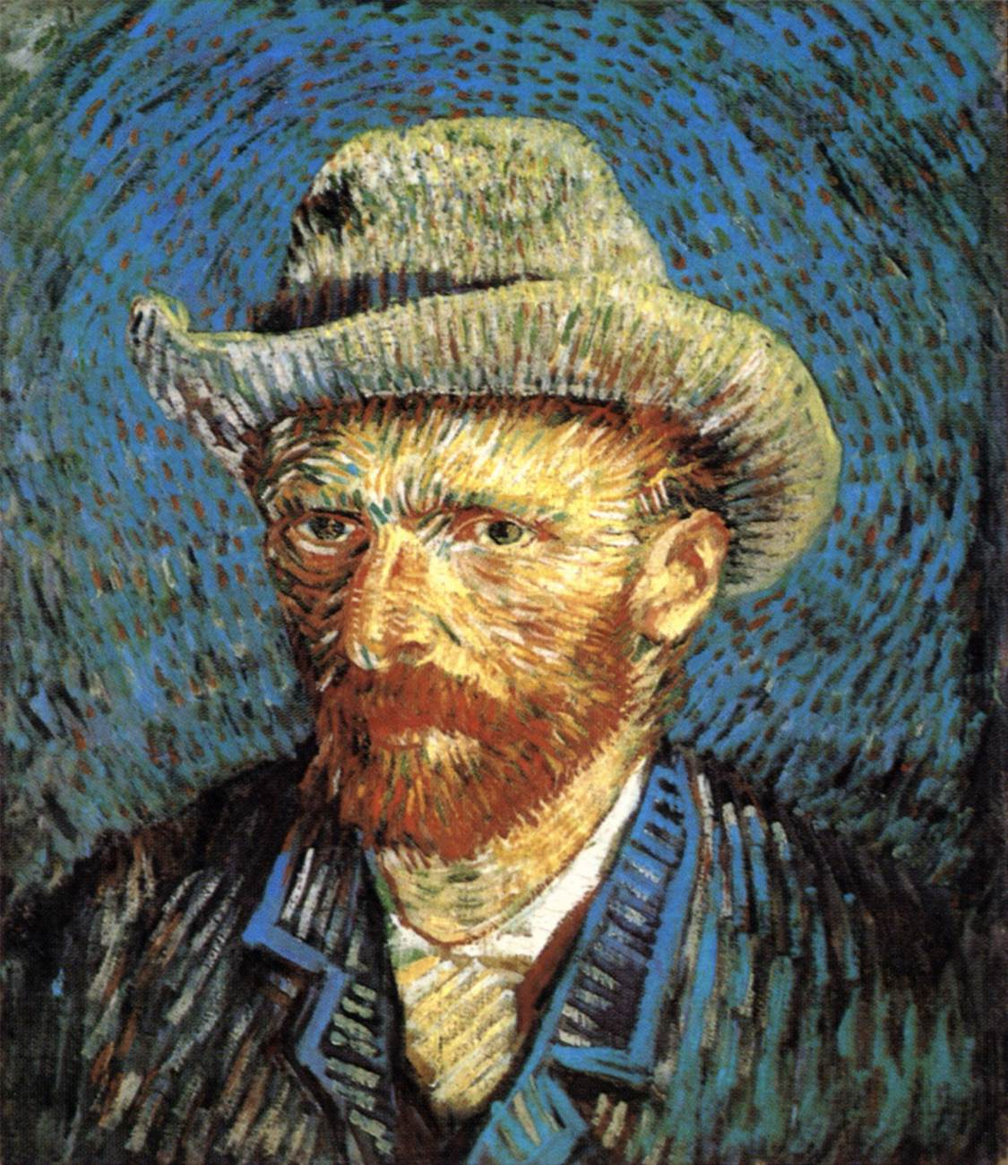 ad10d4b7b8fef Self-Portrait with Grey Felt Hat Winter 1887/88, Paris Oil on canvas, 44 x  38 cm. Rijksmuseum Vincent van Gogh, Amsterdam