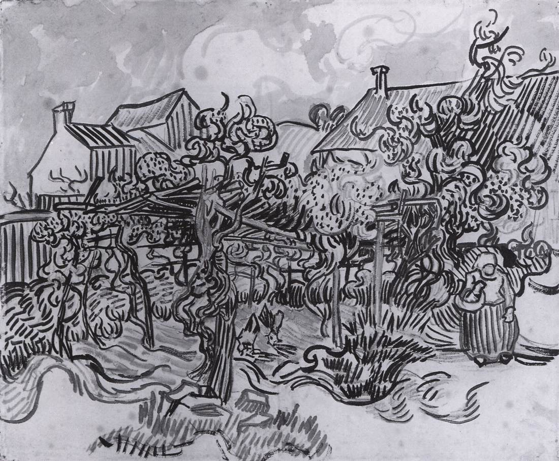 Line Drawing By Vincent Van Gogh : Drawings saint rémy auvers sur oise