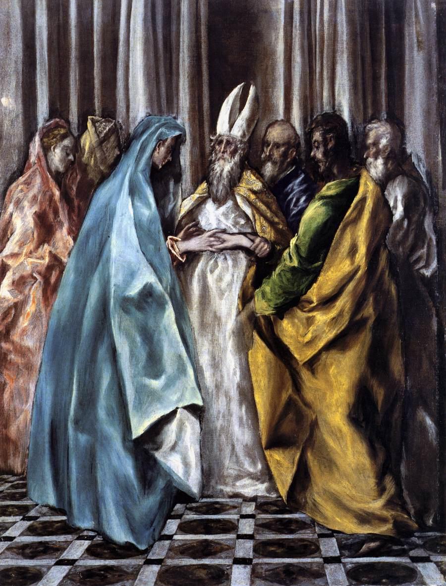 Domenikos Theotokopoulos (El Greco) (1541-1614): Jomfruens giftermål (1613-14), Det rumenske nasjonalgalleriet, Bucuresti