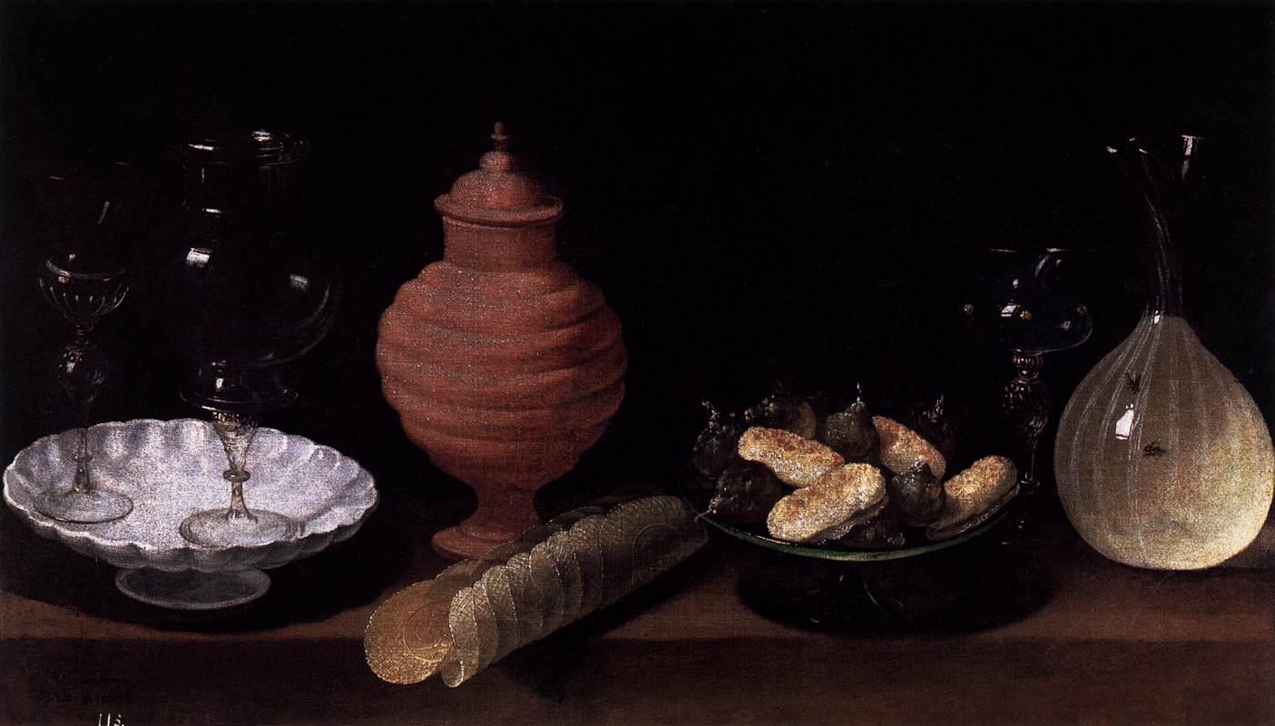 still life of glass pottery and sweets by hamen juan van der