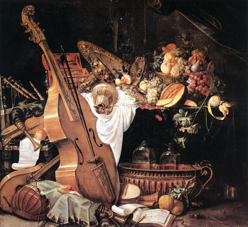 Vanitas still life with musical instruments by heem for Baroque lifestyle