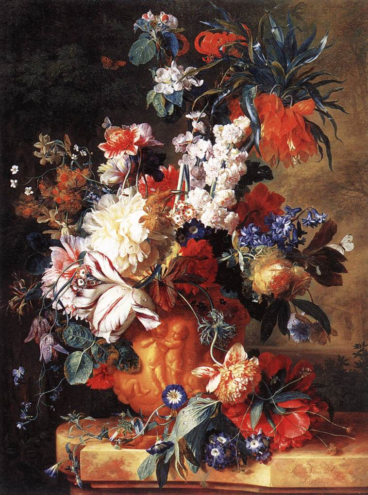 Bouquet of flowers in an urn by huysum jan van for Bouquet de fleurs nature
