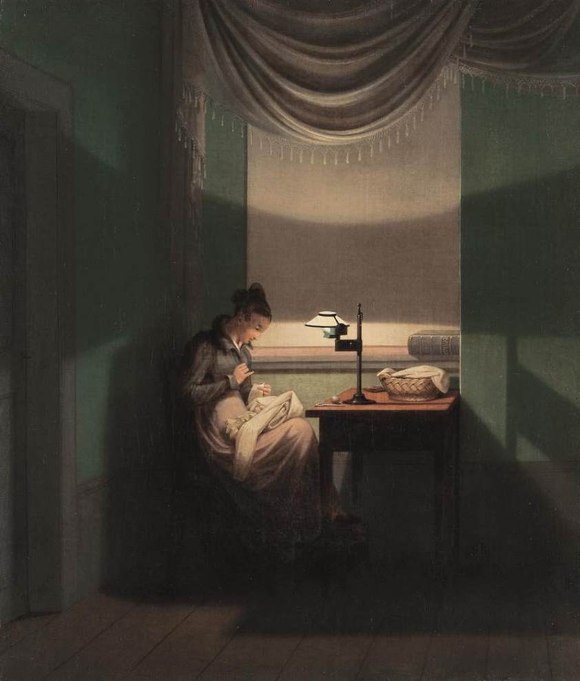 Young Woman Sewing By The Light Of A Lamp By Kersting