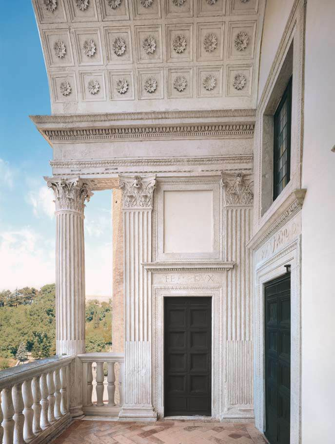 View of the front facing the valley: detail of the loggia ...