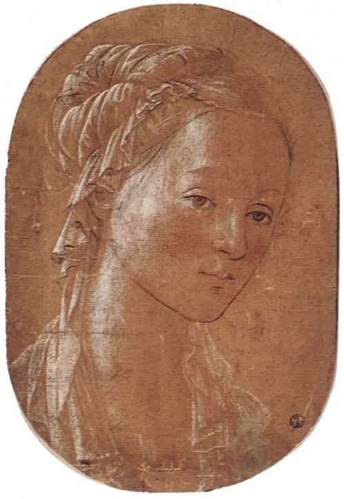 Tête d'une femme, vers 1452, Offices, Florence