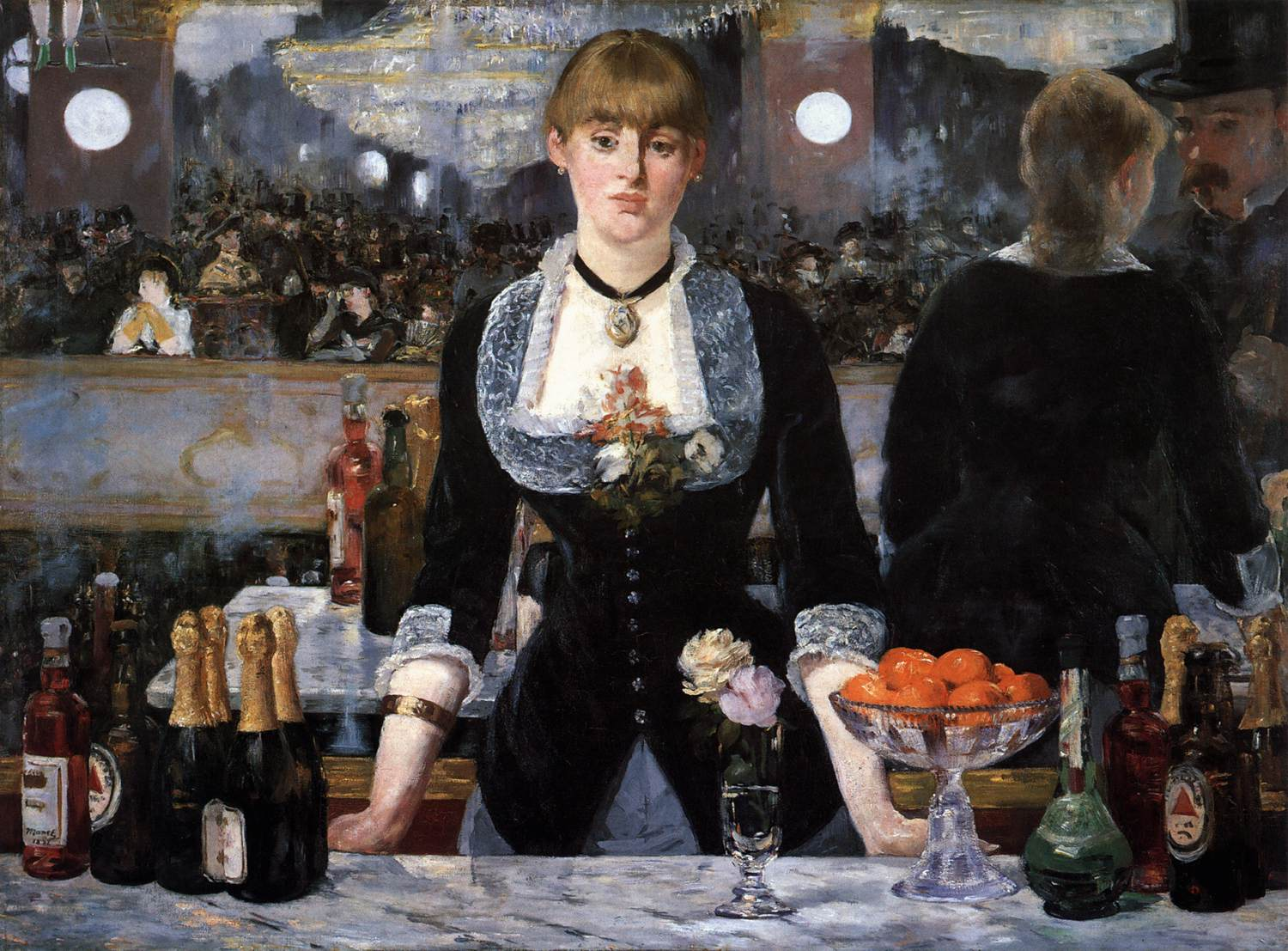 an analysis of the painting a bar at the folies bergre by manet A bar at the folies-bergère 1882 edouard manet (1832 - 1883) manet knew the folies-bergère well he set up a bar and employed one of the barmaids.