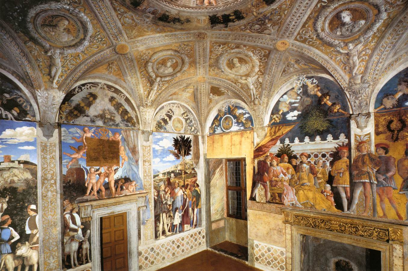 Frescoes in the camera degli sposi ducal palace mantua for Camera sposi mantova