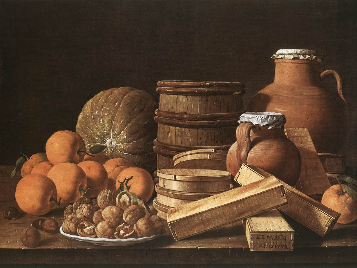Still Life With Oranges And Walnuts By Melendez Luis