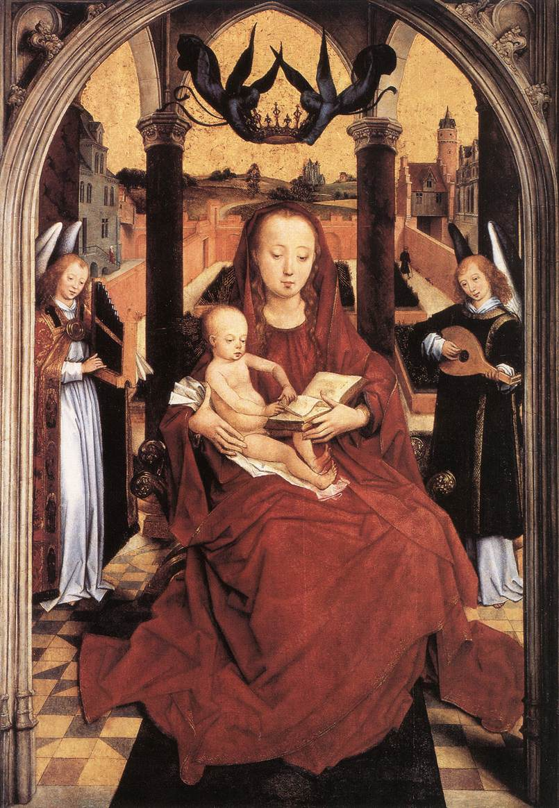 Virgin And Child Enthroned With Two Musical Angels By
