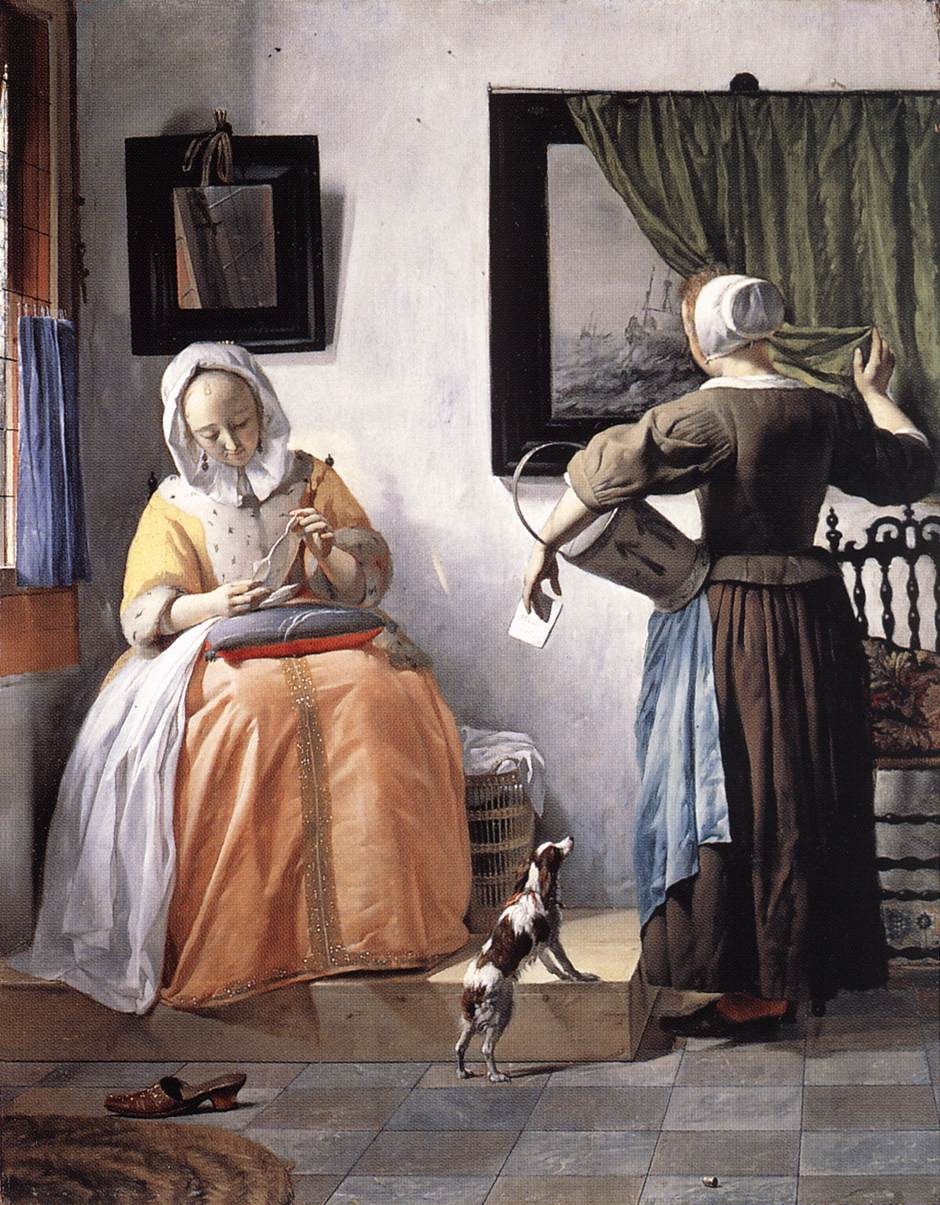 woman writing a letter with her maid vermeer paintings