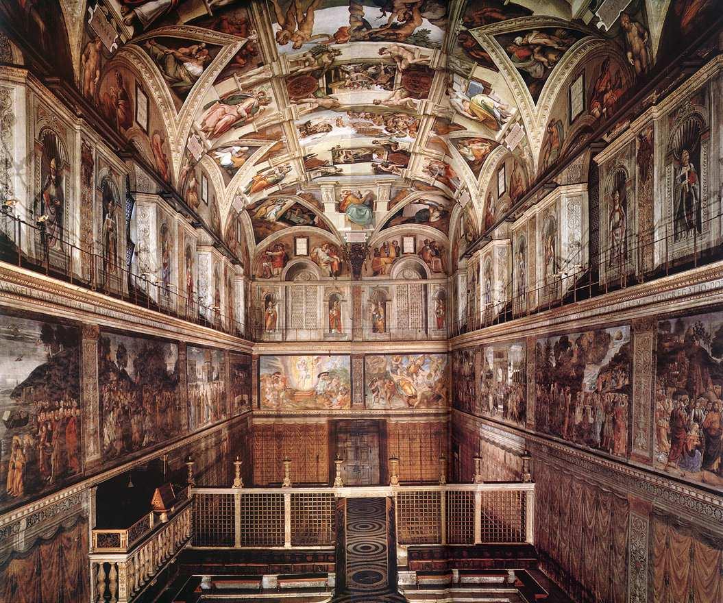 Interior Of The Sistine Chapel By Michelangelo Buonarroti