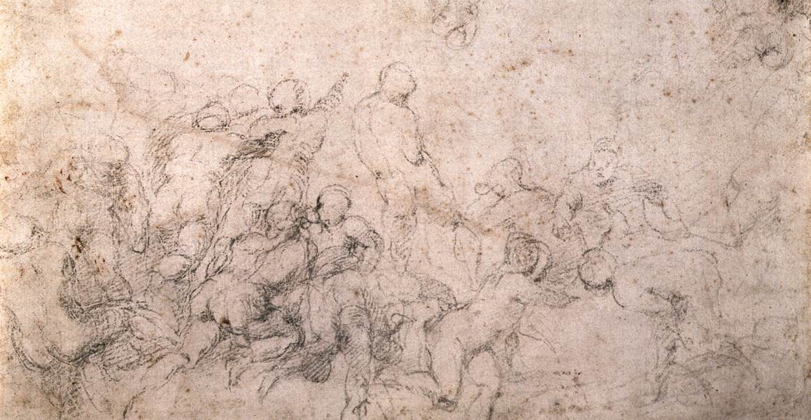 Studies for the battle of cascina and the creation of adam