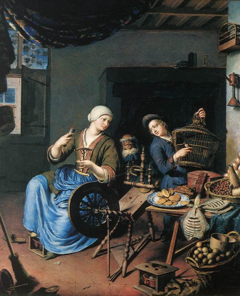 """Купить репродукцию категории Художник, Mieris, Frans van (1635-1681).  Название картины:  """"spinner """" ."""