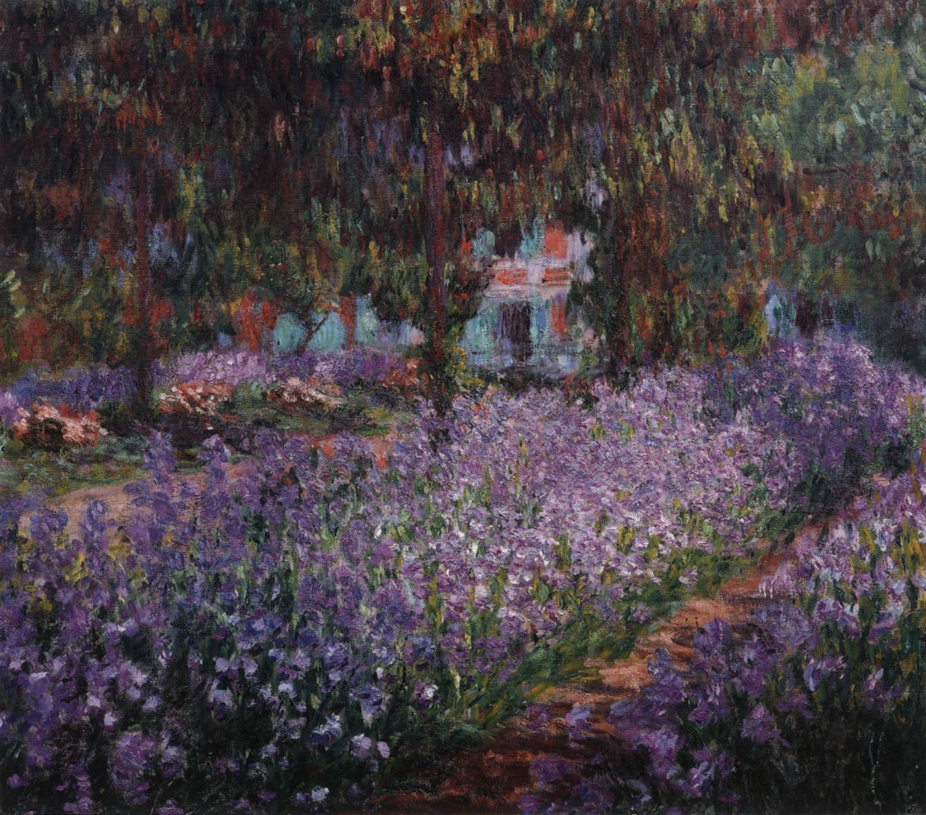 Irises in monet 39 s garden at giverny by monet claude for Aubade jardin d iris