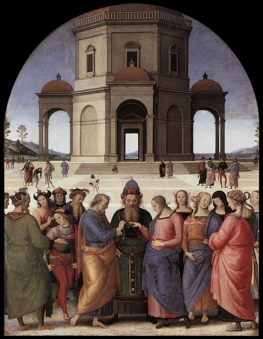 Rafael (Raffaello Santi) (1483-1520): Marias forlovelse (1504), Pinacoteca di Brera i Milano