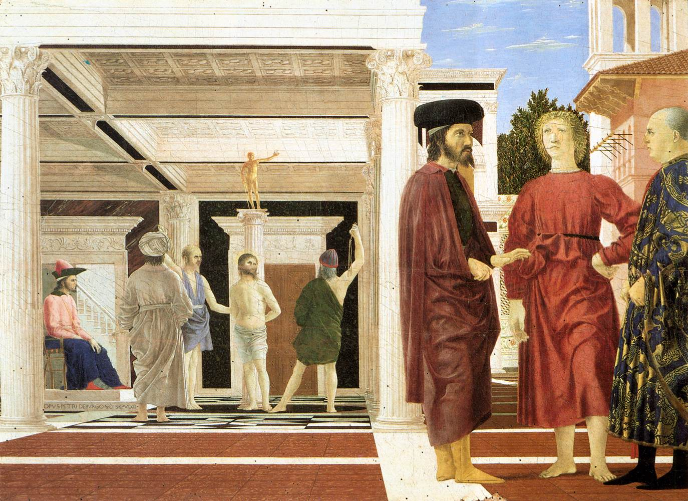 piero della francesca and the use The flagellation of christ (probably 1455–1460) is a painting by piero della francesca in the galleria nazionale delle marche in urbino, italy.