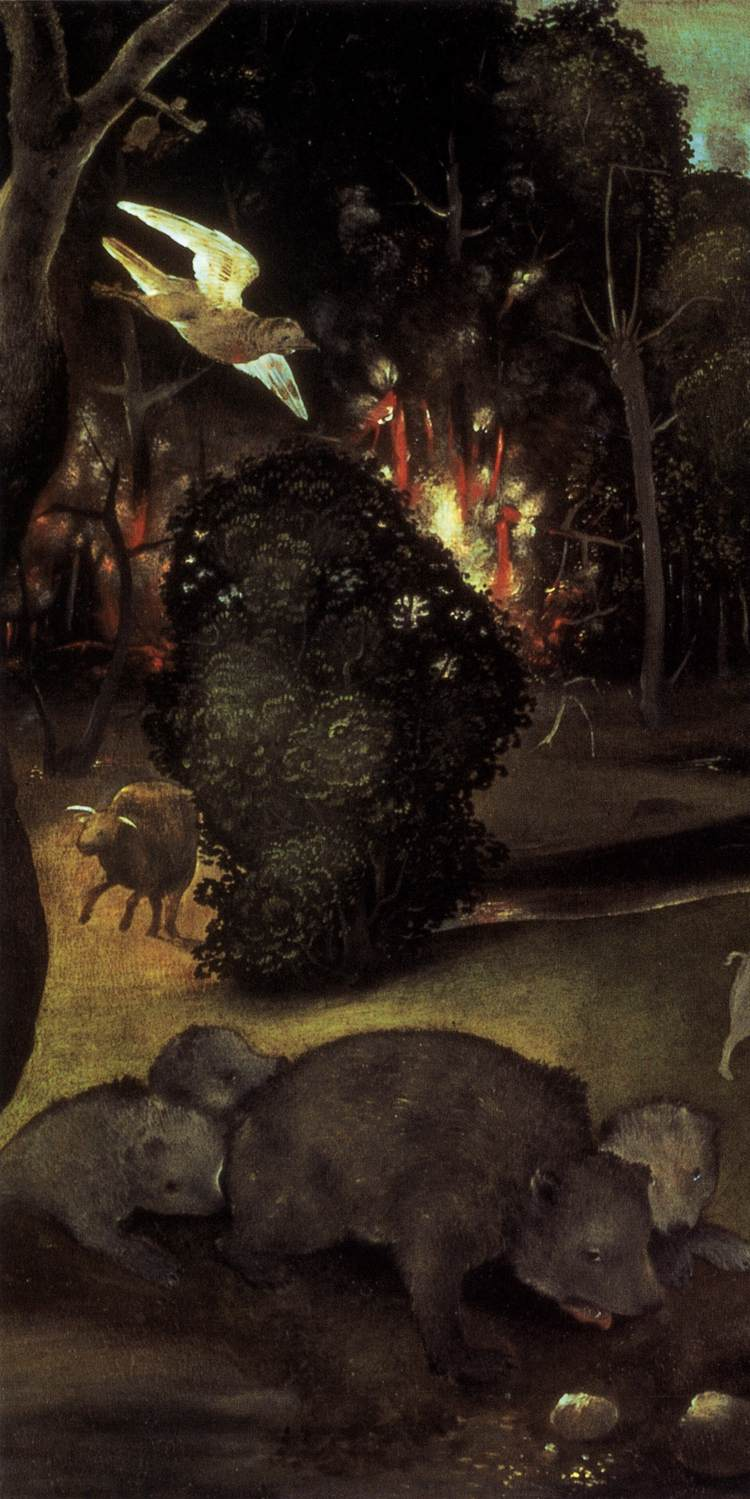 forest fire detail by piero di cosimo