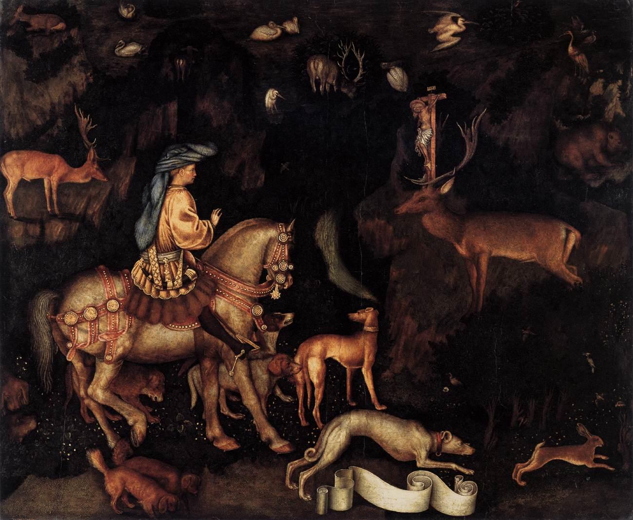 Pisanello (1395-1455): Den hellige Eustasius' visjon (ca 1440), National Gallery, London